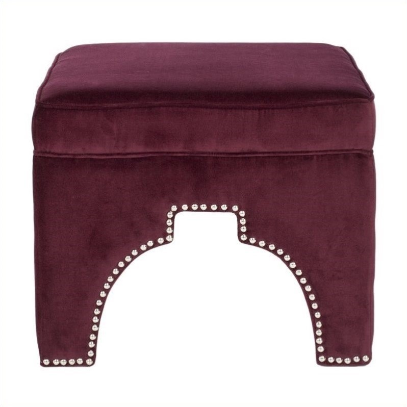 Safavieh Grant Plywood and Cotton Ottoman in Bordeaux