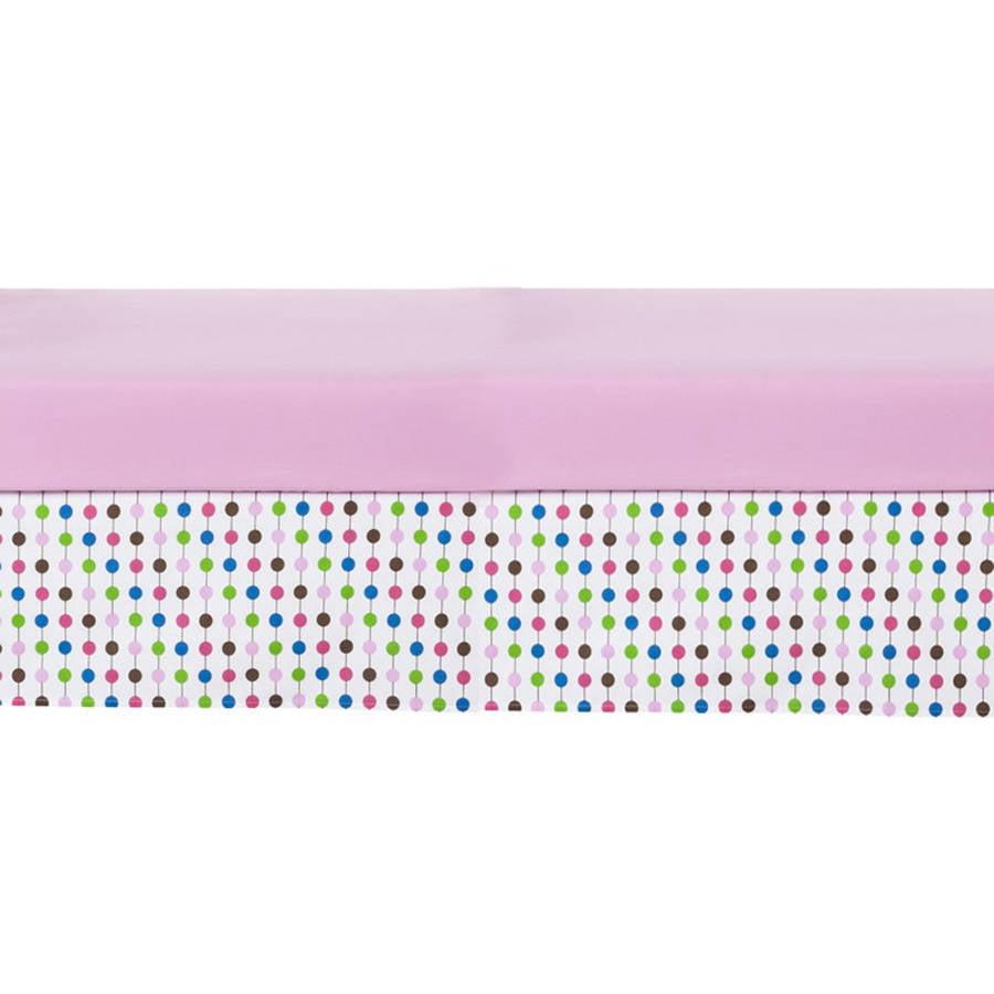 Bacati Pearl String Pink Crib Skirt