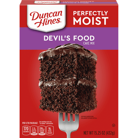 (2 pack) Duncan Hines Classic Devil's Food Cake Mix, 15.25 oz Box ()