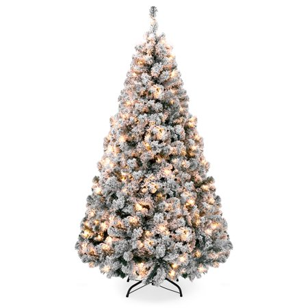 Best Choice Products 9ft Pre-Lit Snow Flocked Hinged Artificial Christmas Pine Tree Holiday Decor with 900 Warm White