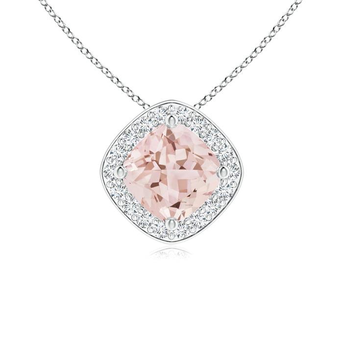 Angara Sideways Cushion Morganite Halo Pendant with Diamonds TXpRuiEi