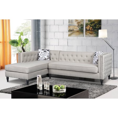 Cool Us Pride Furniture Left Facing Button Tufted Modular L Shaped Sectional Sofa With Nailhead Trim Inzonedesignstudio Interior Chair Design Inzonedesignstudiocom
