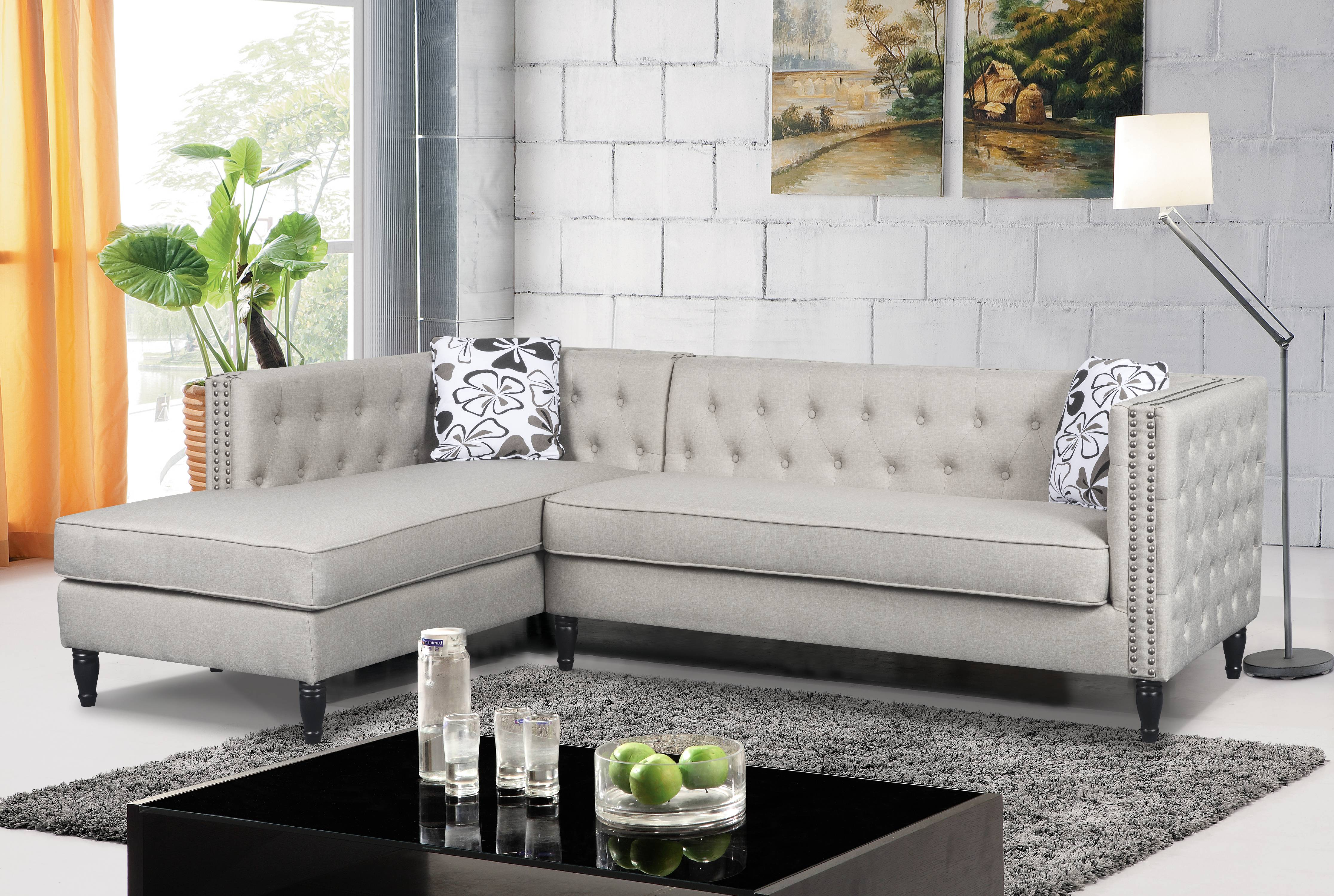 US Pride Furniture Left Facing Button Tufted Modular L Shaped Sectional Sofa  With Nailhead Trim   Walmart.com