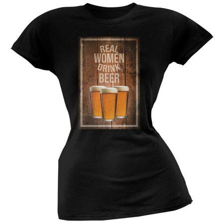 St. Patricks Day - Real Women Drink Beer Black Soft Juniors T-Shirt