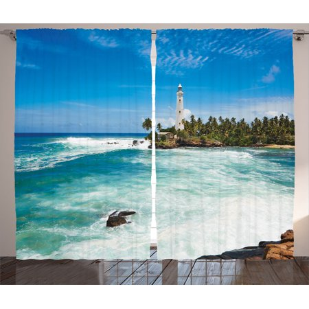 Lighthouse Decor Curtains 2 Panels Set, Tropical Island Lighthouse With Palm Trees Rocks Wavy Seaside Beach Ocean, Living Room Bedroom Accessories, By Ambesonne
