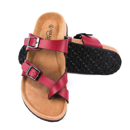 Seranoma Women's Toe Ring Cork Sandal | Classic Ladies Sandal | Flat Footed Dual Adjustable Buckle | Breathable Open Toe Slide | - Naot Cork Sandals