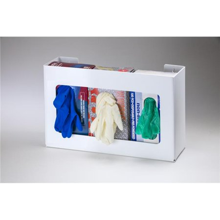 Rack Em Racks 5188-W Disposable Glove Box Dispenser with Clear White Plastic - Large - Box of 3 - 250 Count