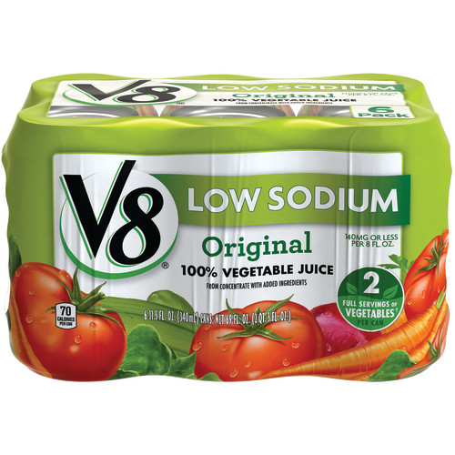 V8 Original Low Sodium 100% Vegetable Juice, 11.5 oz. , 6 pack
