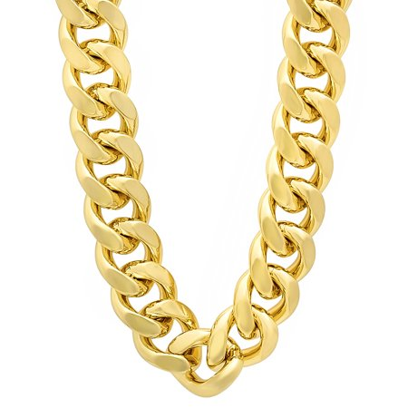 190ffc0783b305 The Bling Factory - 14mm 14k Gold Plated Miami Cuban Link Chain Necklace +  Microfiber Jewelry Polishing Cloth - Walmart.com