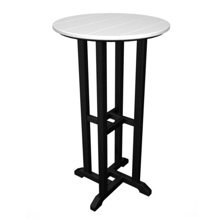 POLYWOOD; Transitional Recycled Plastic 24 in. Pub Table - Classic Dual Colors with Black Frame