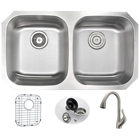 Anzzi KAZ3218 031B 32 in Moore Undermount Stainless Steel Double Bowl
