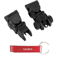TACBRO Polymer Flip-up Front and Rear Sight - Black with One Free TACBRO Aluminum Opener(Randomly Selected Color)