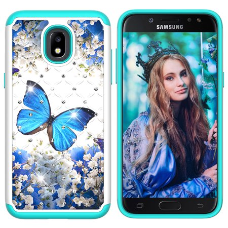 Galaxy J7 2018 Case,Galaxy J7 Refine Case,Galaxy J7 Star / J7 Crown / J7 V J7V 2nd Gen / J7 Aura Case, Allytech 2 in 1 Samsung Galaxy J7 2018 Defender Cover Case with Bling Diamond, Blue Butterfly ()