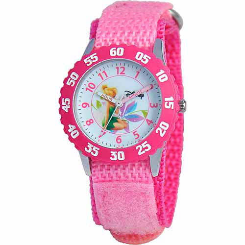 Disney Tinker Bell Girls' Stainless Steel Watch, Pink Strap