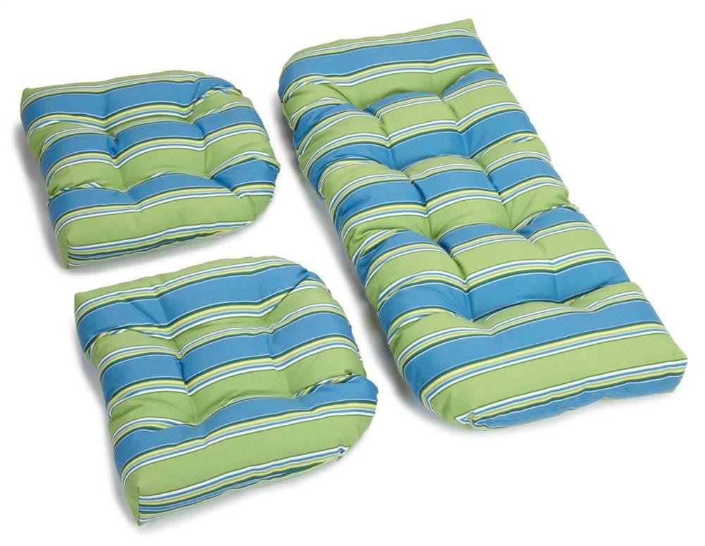 3-Pc Wicker Settee Designer Cushion Set (Haliwell Caribbean) by Blazing Needles Designs