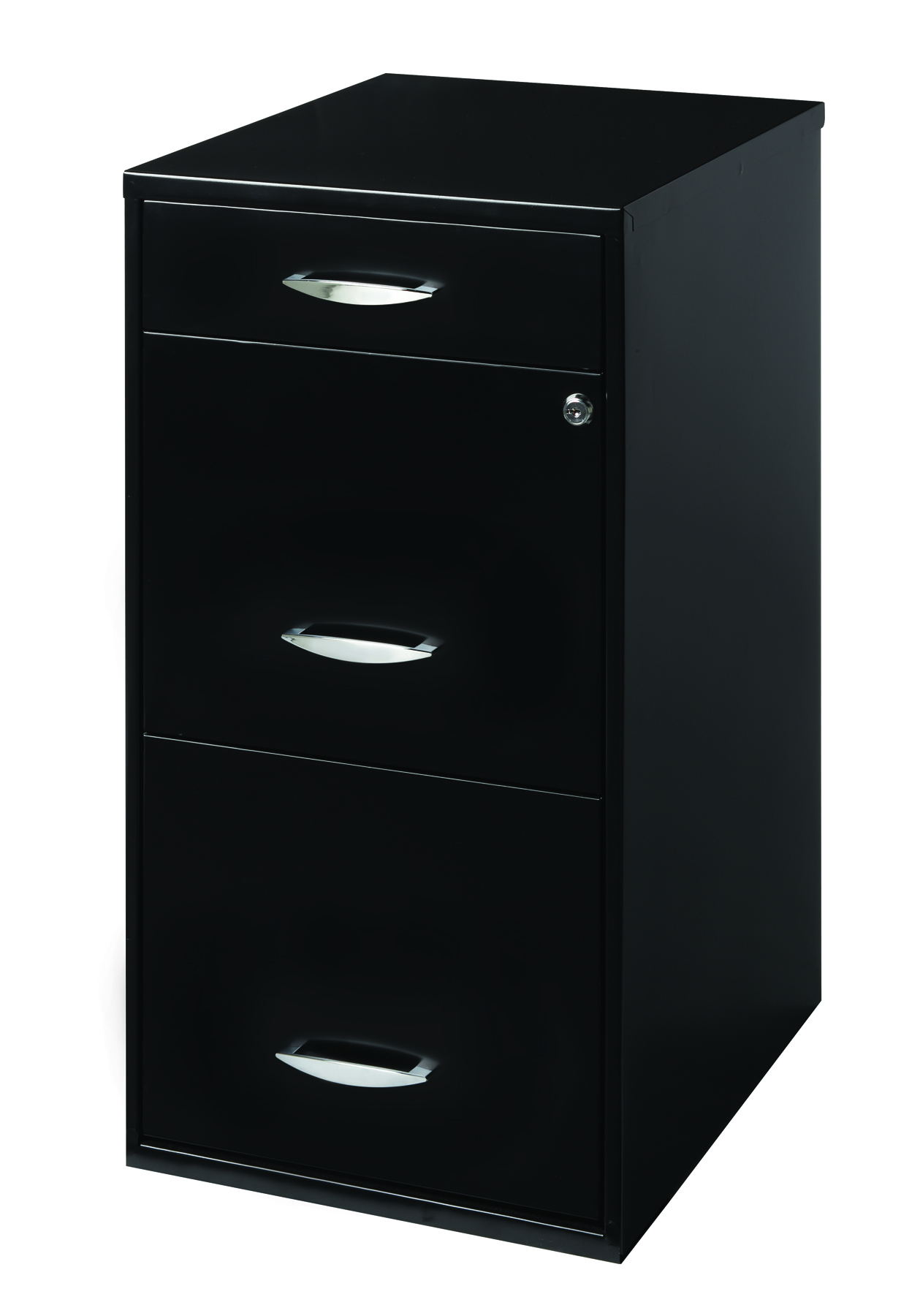 Filing Cabinet 3 Drawer With Pencil Tray And Lock, Black