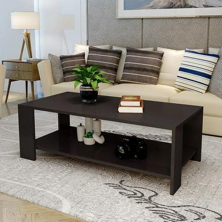 Zimtown Modern Rectangle Sofa Coffee Table End Living Room Furniture Shelf