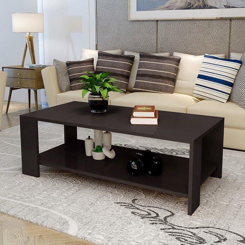 Zimtown Modern Rectangle Sofa Coffee Table End Table Living Room Furniture Shelf