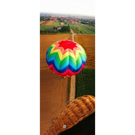 High angle view of a hot air balloon on field Metz Moselle Lorraine France Canvas Art - Panoramic Images (15 x (The Green Fields Of France The High Kings)