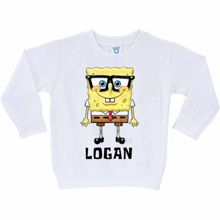 Personalized SpongeBob SquarePants Glasses Kids' White Pullover Sweatshirt