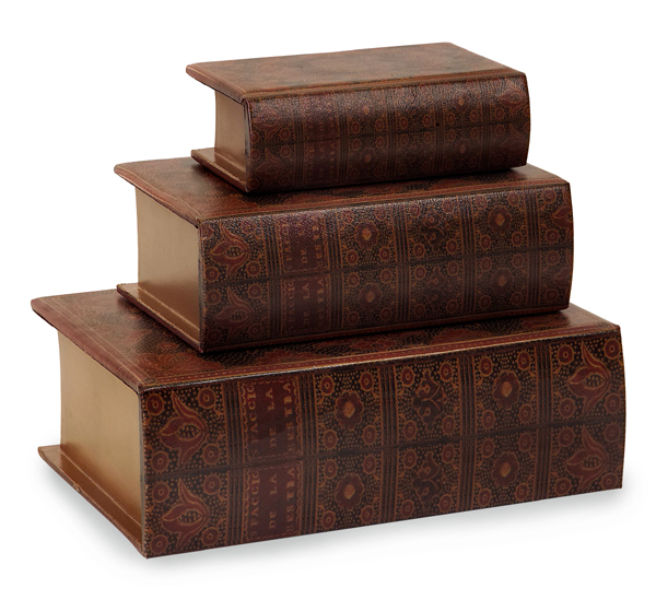 Lovely Set Of 3 Decorative Nesting Wooden Book Storage Boxes
