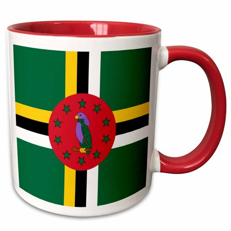 - 3dRose Flag of Dominica - Dominican Caribbean island - national bird emblem - sisserou parrot on green - Two Tone Red Mug, 11-ounce