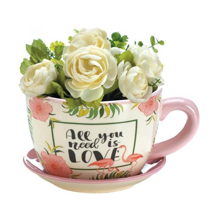Teacup Planter (Patio Planters, Pink Flamingo Decorative Outdoor Garden Teacup)