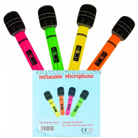 4PK X 40CM INFLATABLE MICROPHONE BLOW UP NEON FANCY DRESS, HEN NIGHT PARTY ACCESSORY - Inflatable Microphones