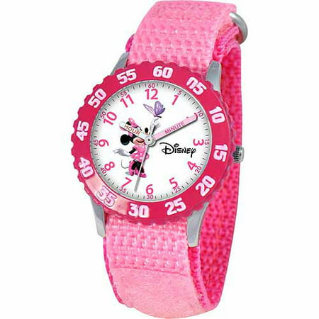 Disney Minnie Mouse Girls' Stainless Steel Watch, Pink Strap