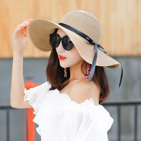 Women's Beach Hat Portable Packable Roll Up Wide Brim Sun Visor UV Protection Floppy Crushable Straw Beach Hat Bonnet Beach Cap Sun Hat for Women Ladies, Black, Khaki, - Cute Straw Baseball Cap