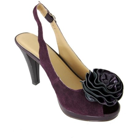 Women's Plum Purple Sassy Slingback High Heel Shoes with Floral Accent - Size 9