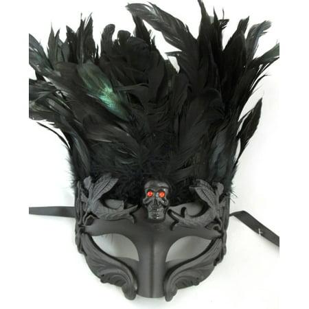 Black Skull Red Eyes Feather Masquerade Mardi Gras Men's Mask (Mardi Gras Skull Mask)