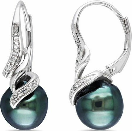 9-9.5mm Black Drop Tahitian Pearl and Diamond Accent Sterling Silver Leverback Swirl Earrings