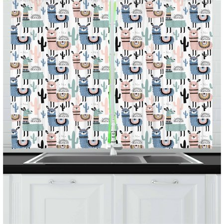 Llama Curtains 2 Panels Set, Children Cartoon Style Hand Drawn South American Animals Alpacas and Llamas Design, Window Drapes for Living Room Bedroom, 55W X 39L Inches, Multicolor, by Ambesonne