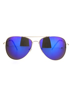 65400d3563 Product Image Mens Color Mirror Classic Pilots Metal Rim Officer Style  Sunglasses Gold Blue