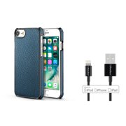 BasAcc PU Leather Hard Back Case Cover for iPhone 7 6 6s - Dark Blue (+ 3ft Apple Certified Lightning to USB Cable)
