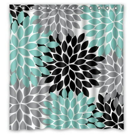 HelloDecor Black Grey Green Dahlia Floral Shower Curtain Polyester Fabric Bathroom Decorative Curtain Size 66x72 Inches ()