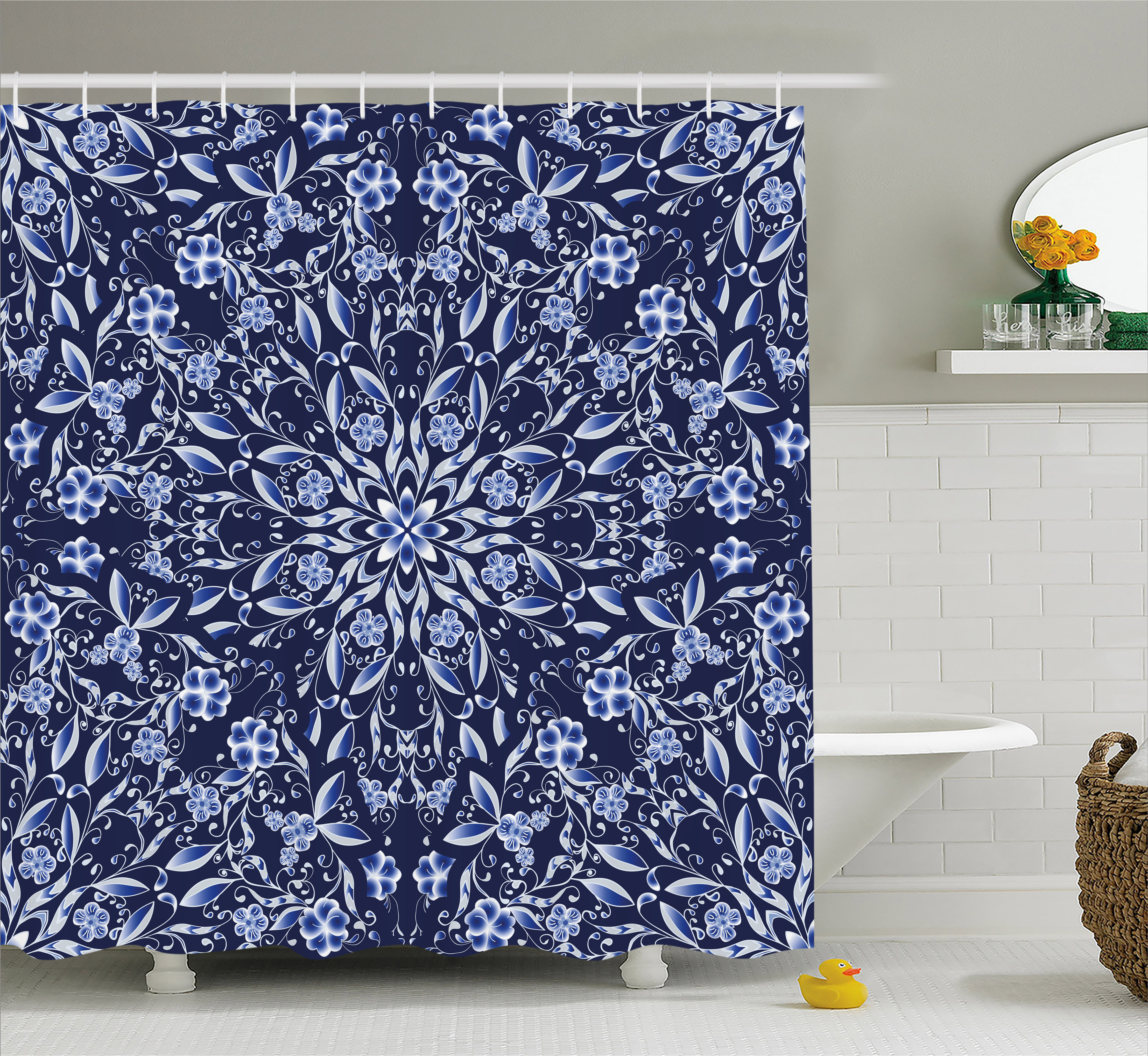 dark blue shower curtain chinese painting style artwork traditional floral interlace print fabric bathroom