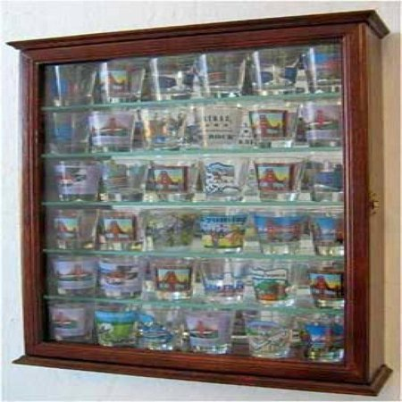 - 36 Souvenir Shot Glass Display Case Shadow Box Wall Mounted Cabinet, Mirror Background, Walnut Finish (SCD06B-WA)
