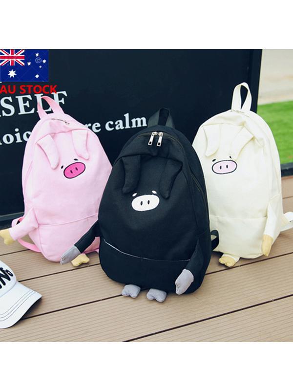 Meigar Girls Cute Piggy Shoulders Backpack Pig Canvas Bag School Bookbag Rucksack Satchel Shoulder Bag