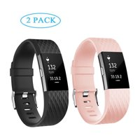 POY Fitbit Charge 2 Bands 2 PACK Adjustable Replacement Wristband Band for Fitbit Charge 2 New Style Black,Pink (Small)