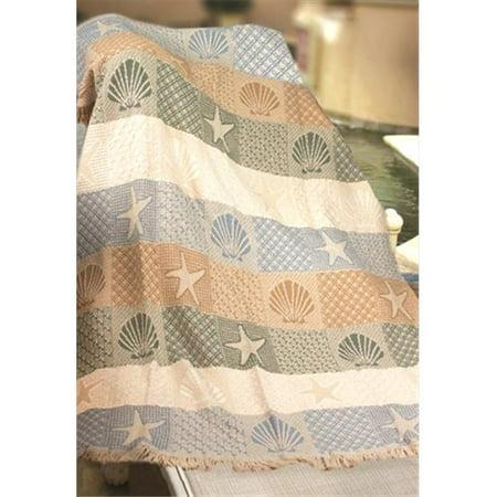 Seashells By The Seashore 2 Layer Throw Blanket Fashionable Jacquard Woven 46 X 60 -