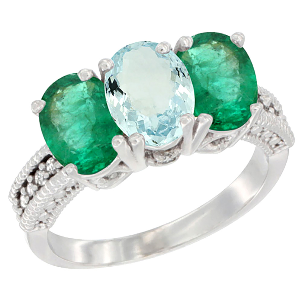 14K White Gold Natural Aquamarine & Emerald Sides Ring 3-Stone 7x5 mm Oval Diamond Accent, sizes 5 10 by WorldJewels