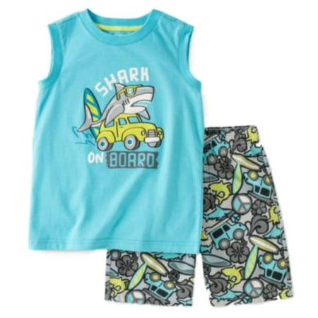 Infant Boys 2-Piece Shark On Board Sleeveless Shirt & Shorts Set Blue Infant Two Piece