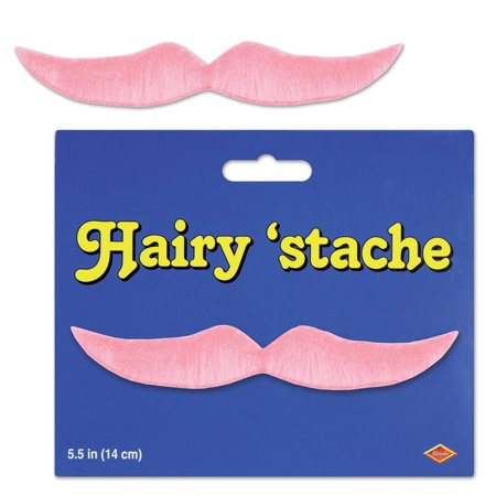 Pack of 12 Pink Hairy Mustache Costume Accessories 5.5
