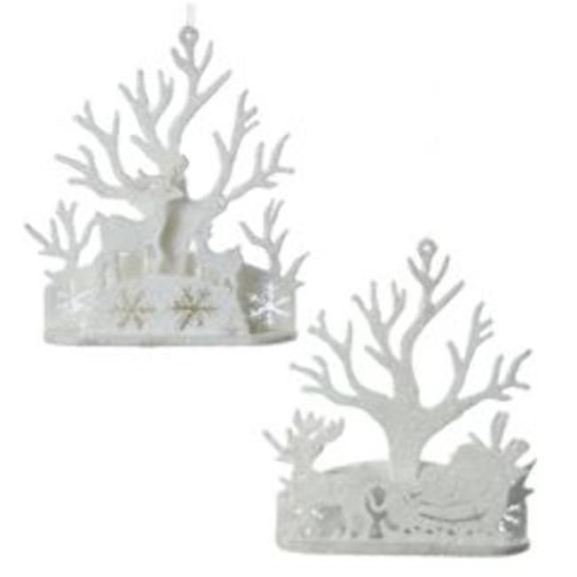 Kurtadler 1913026 White Glittered Reindeer & Santa Sleigh...