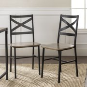 Rustic Industrial Wood Driftwood Dining Chair, Set of 2 by Manor Park