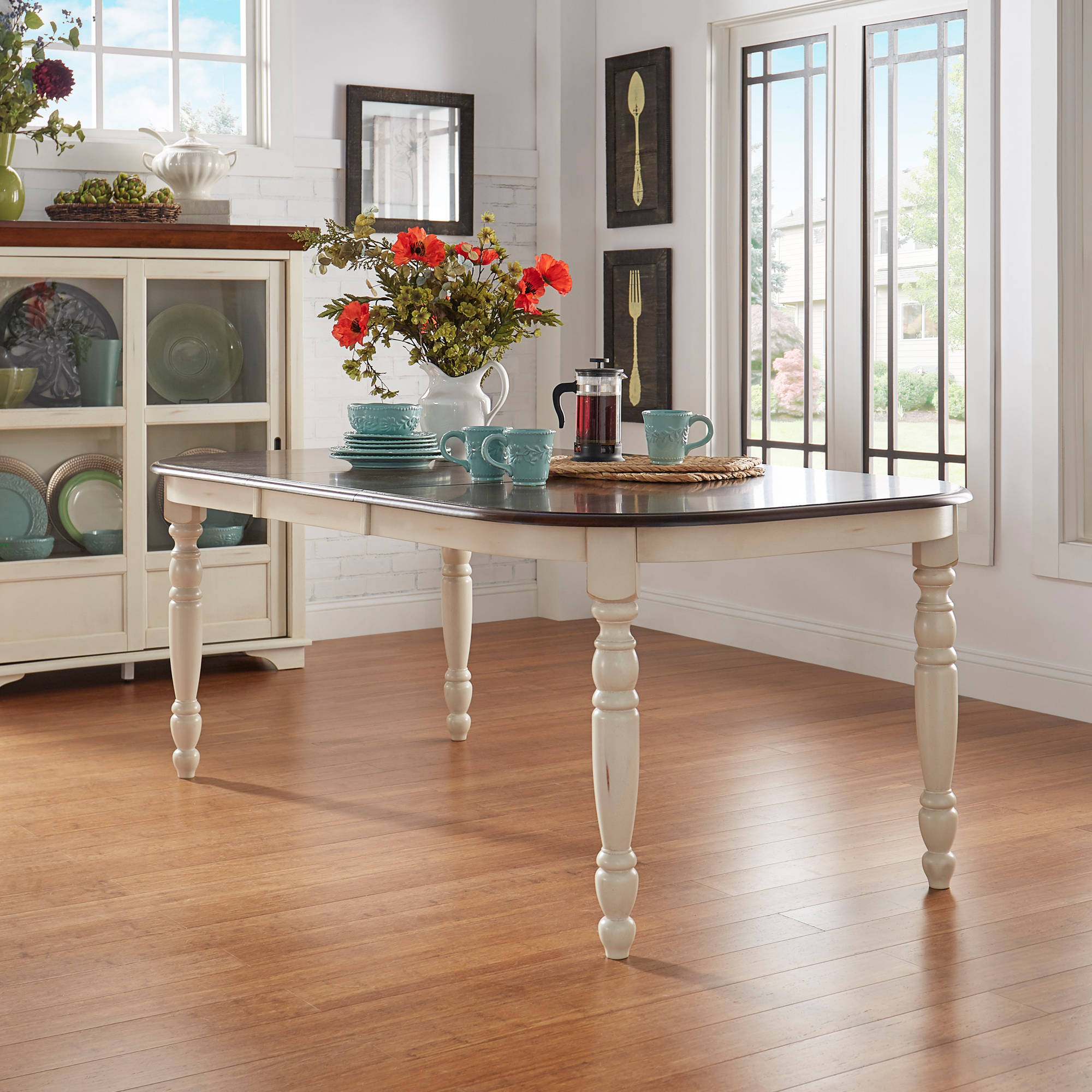 Weston Home Two Tone Dining Table, Antique White & Warm Cherry