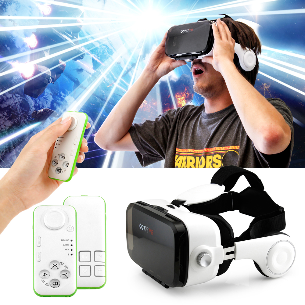 Oct17 VR 3D Virtual Reality Z4 4th Generation Glasses Box Goggles Headset Headphones Earphones with Bluetooth Control remote For Smartphone IOS Android iPhone 6 plus Samsung Galaxy S6 Edge+