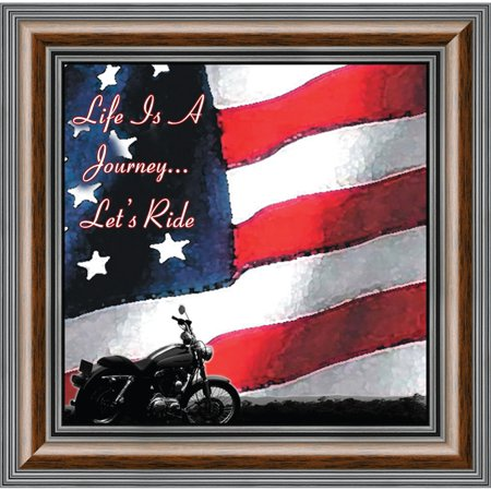American Flag Photo (Life and Journey American Flag Picture Frame, Classical Bike, 10x10)